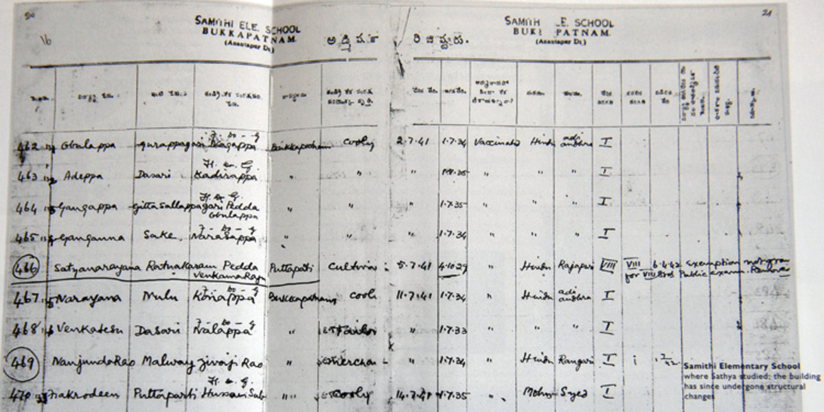 The attendance register from the Bukkapatnam school. Swami's name is recorded as Sathyanarayana Raju (and has been underlined for identification).