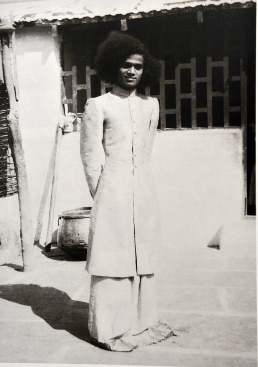 Swami wearing a special gown presented to Him by His 'second-mother' Karnam Subbamma.