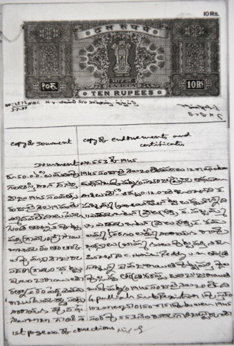 The sale deed for the land for the first Mandir built for Swami.