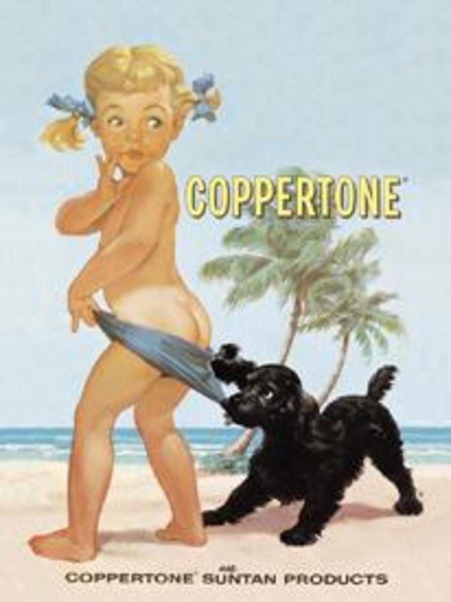 Suntan lotions were promoted before sunscreens. This is for the Coppertone suntan lotion that is now Coppertone sunscreen.