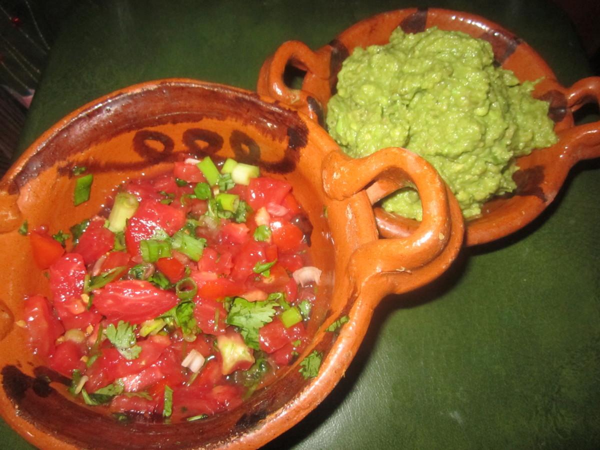 Homemade pico de gallo and guacamole