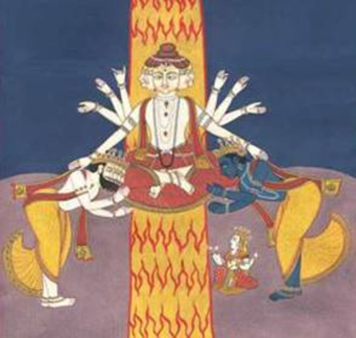 Shiva reveals himself as Brahman (the foundation of all existence) to Brahma and Vishna.