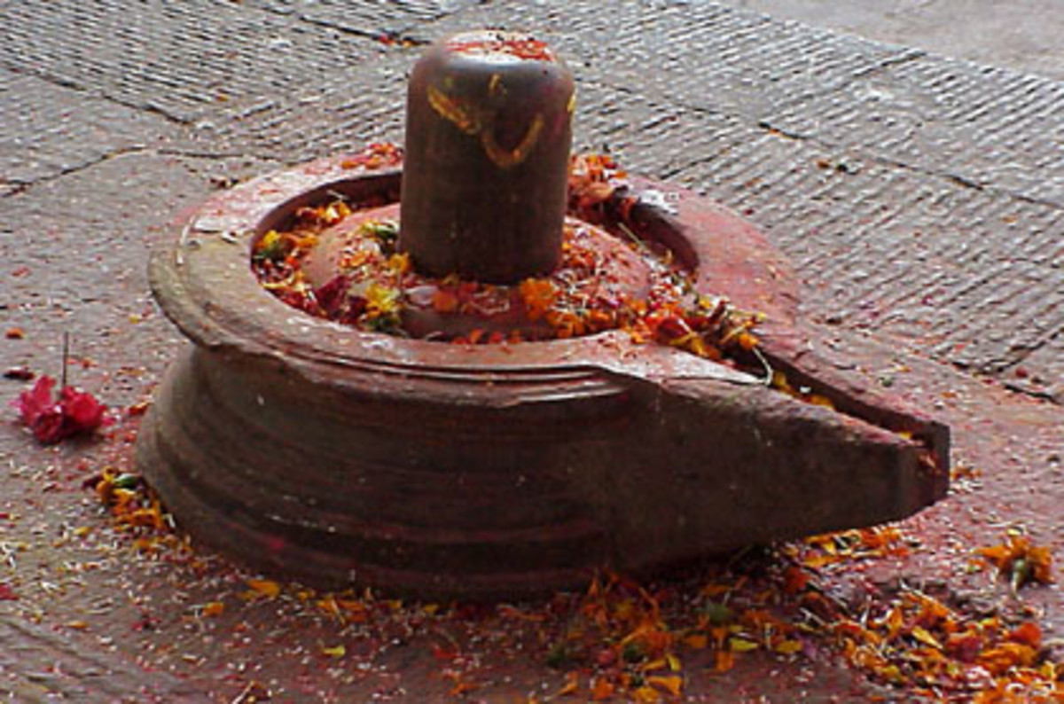 Shiva lingam (the rock) resting in its cradle (the yoni), the aniconic symbol of Shiva and all reality.