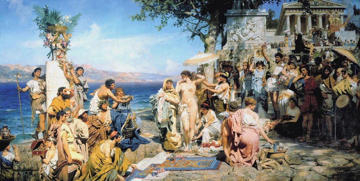 Phryne at the Poseidonia in Eleusis by Henryk Siemiradzki, 1889