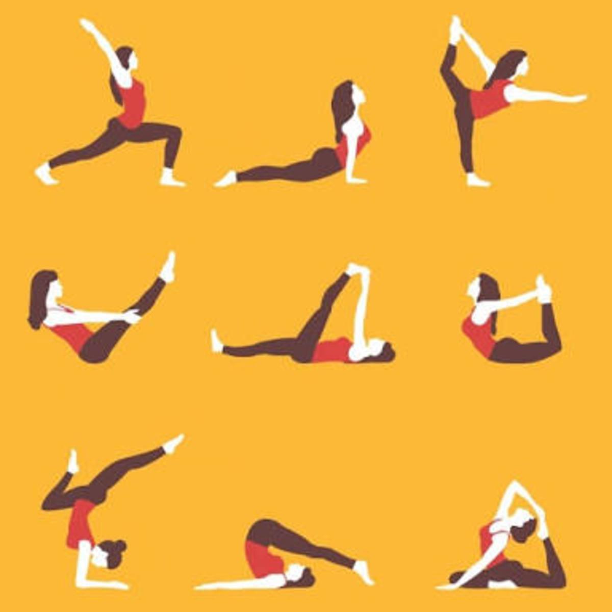 Different Yogic postures