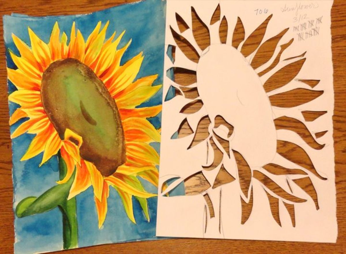 Sunflower and stencil
