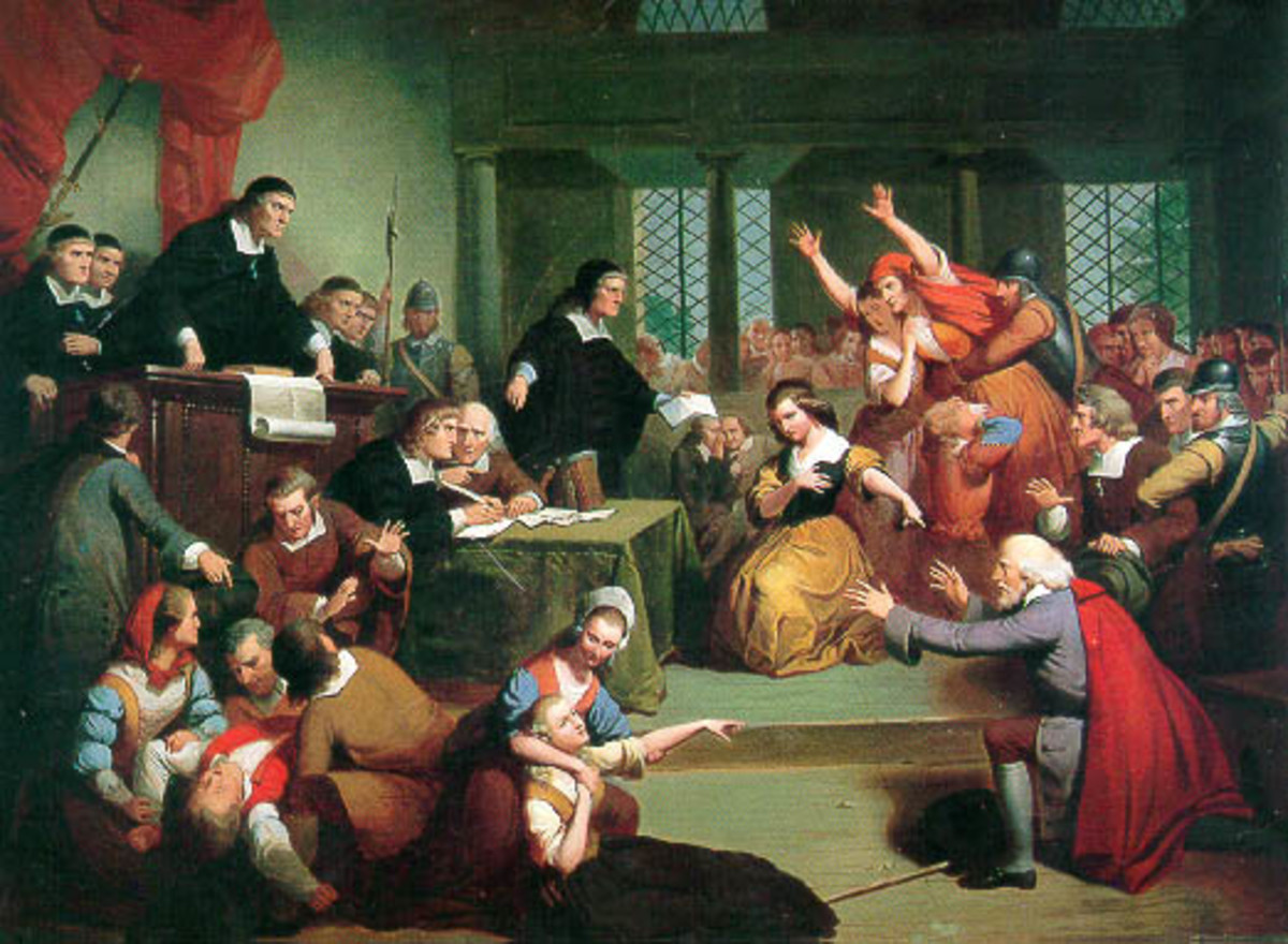 Depiction of a Salem, Massachusetts Witch Trial