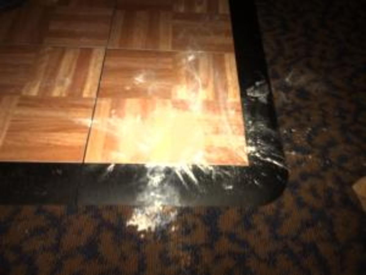 Powdered corner of a dance floor