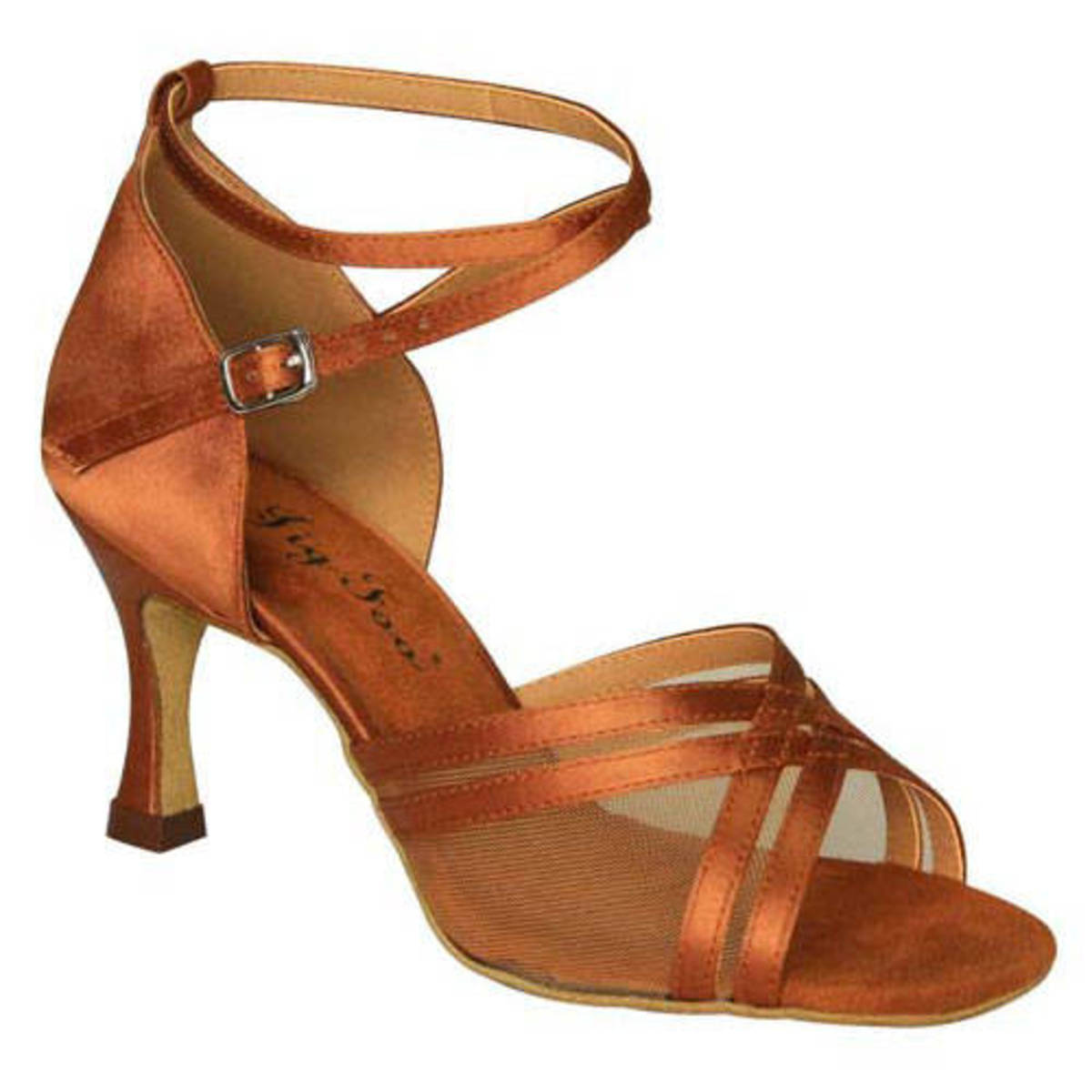 A spectacular suede bottom latin dance shoe