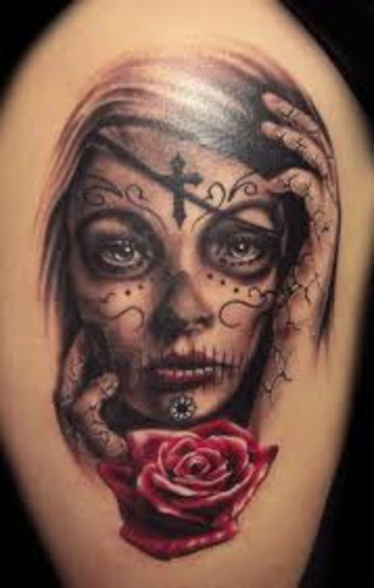 Day of the dead woman tattoo designs