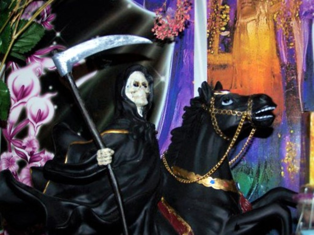 I Love my Black Robed Santa Muerte on Horseback Statue