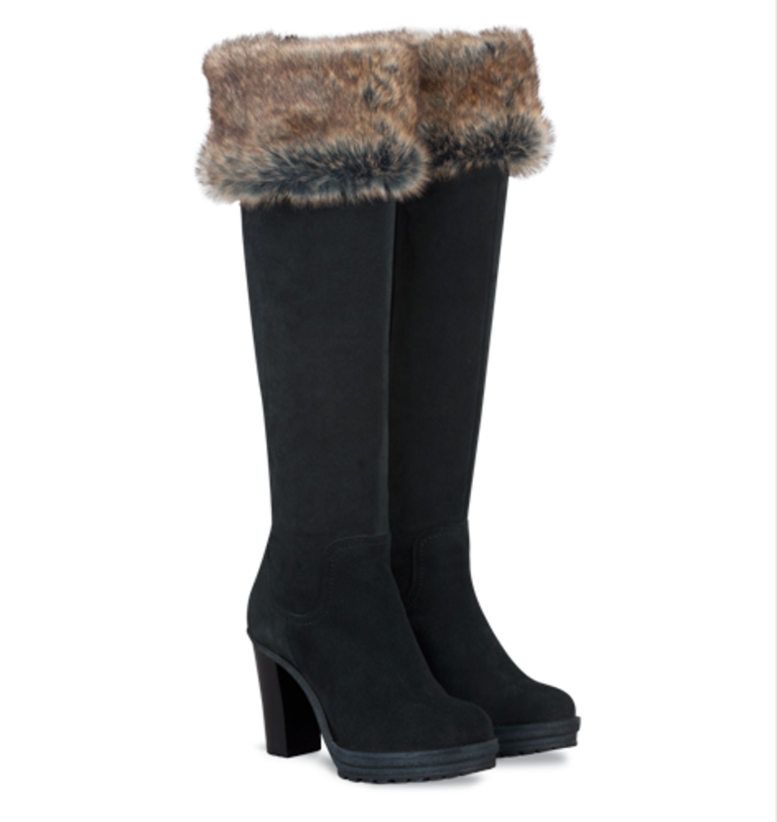 Duo's Farrow Over-the-Knee Boots with Faux Fur Cuff, in Black and Brown Suede - $340