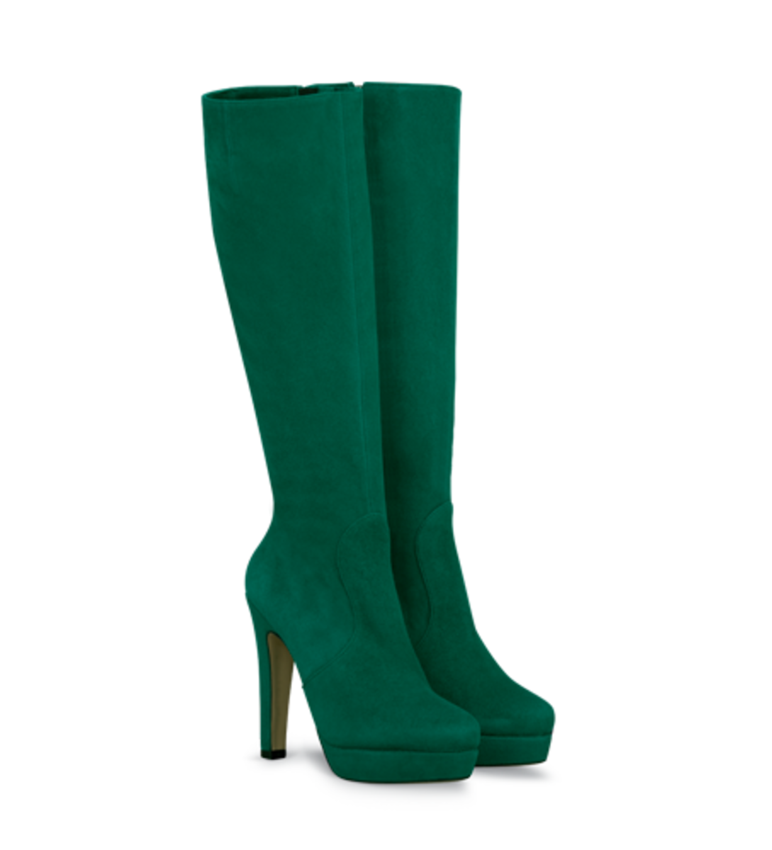 Bach Platform Knee-High Fitted Boot in Suede (Comes in Green, Black, Purple, Fuchsia) - $370
