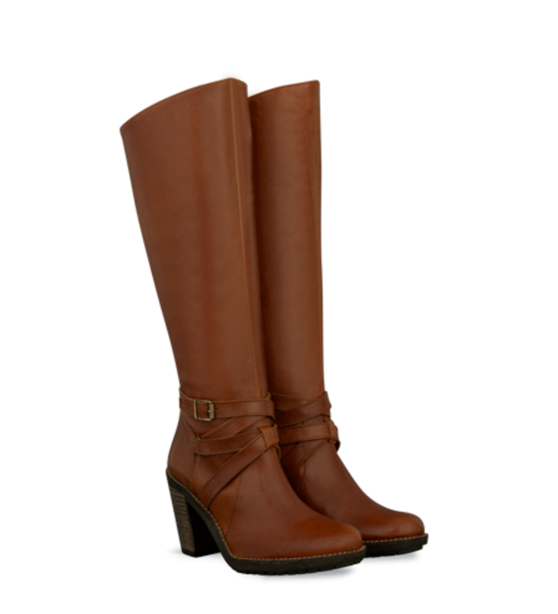 Duo's Helvin Asymmetric Cut Boots with Buckle Detail, in brown and black - $300