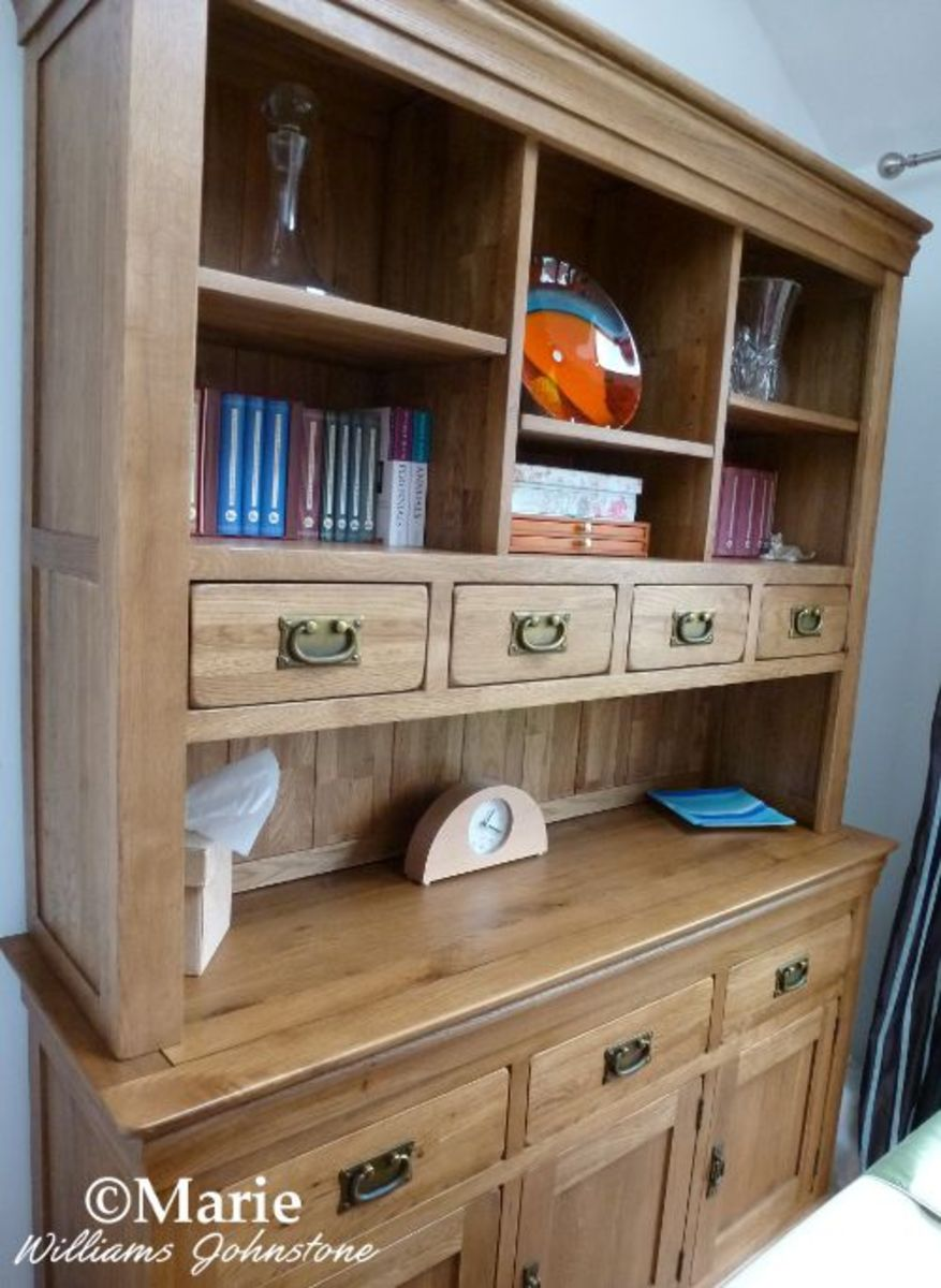 Oak Buffet and Hutch (Welsh dresser) makes great craft storage for a formal dining room