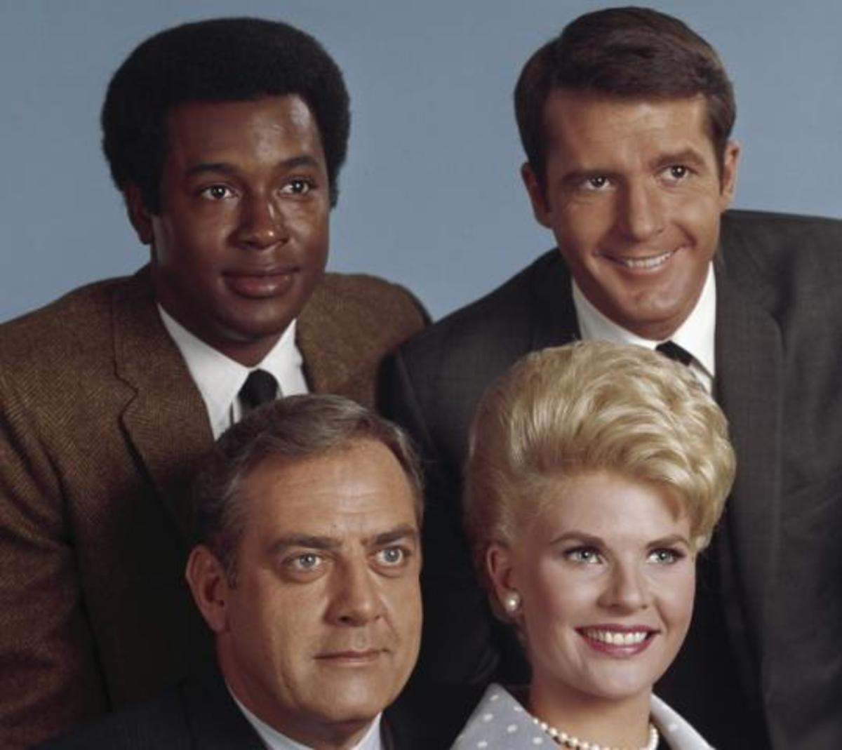 Don Mitchell, as Mark Sanger, with the cast of Ironside.