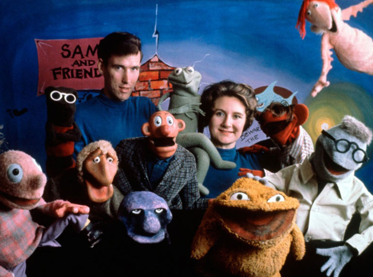 Jane Henson with husband Jim on their first show, Sam and Friends, circa 1960.