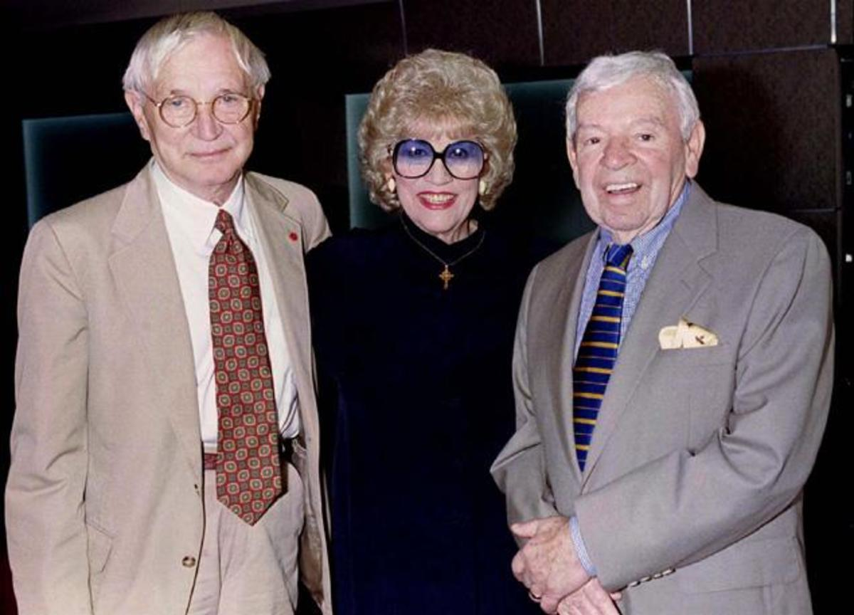 Patty Andrews with big bandleader Les Brown, right and actor/musician Bobby Troup