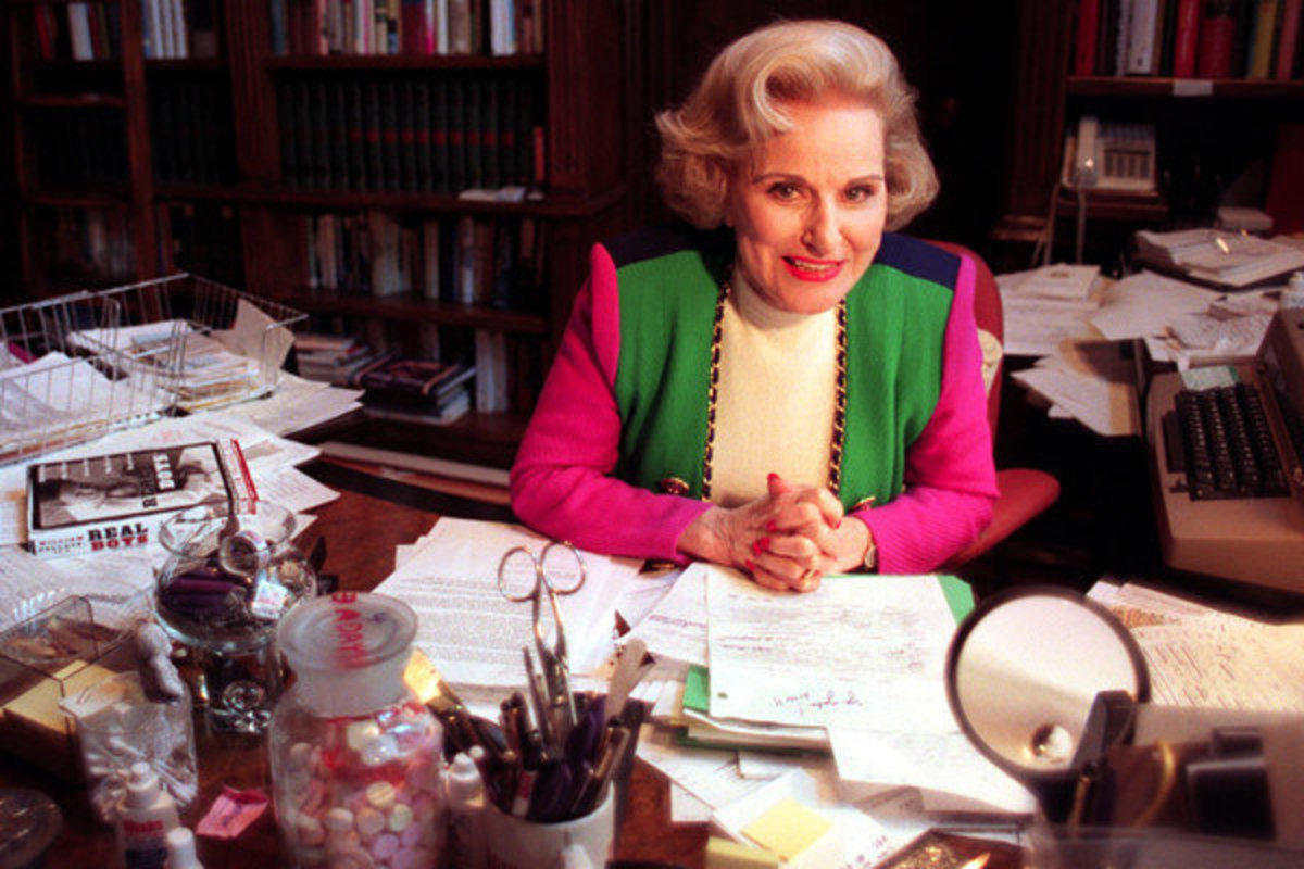 Dear Abby at her desk