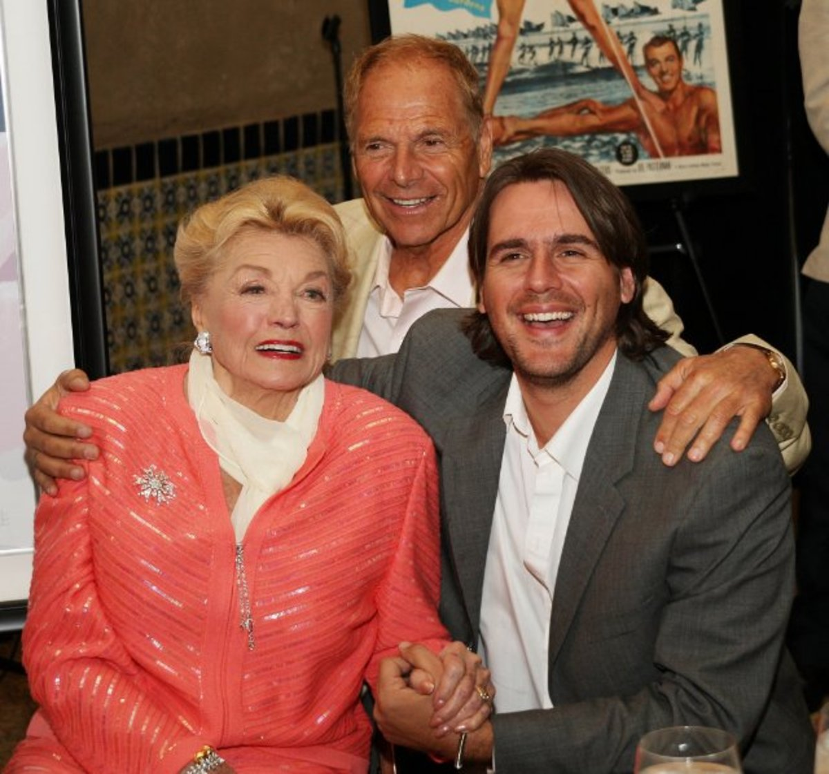 Actress Esther Williams, her husband Edward Bell and her stepson attend the 87th annual installation and awards luncheon for the Hollywood Chamber of Commerce at the Hollywood Roosevelt Hotel on April 9, 2008 in Hollywood, California.