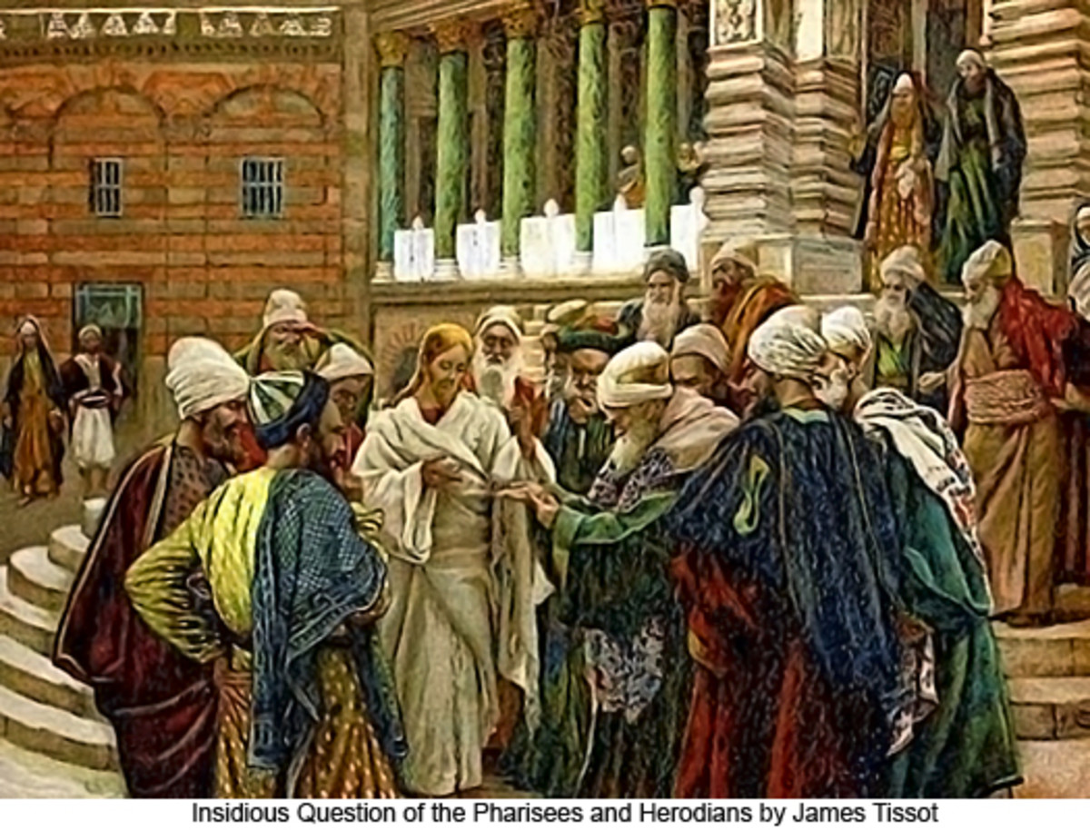 This painting depicts Jesus confronting the religious leaders in his day. Popular understanding suggests it was the Pharisees, but other sources say the Sadducee, which were more in line with the High Priest who served Roman imperial interests.