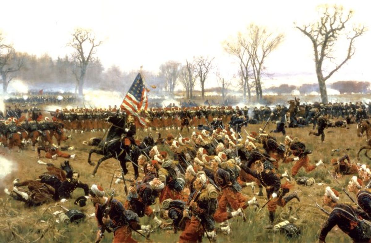 A painting of the 114th Regiment, Pennsylvania Volunteers at Trail Arms