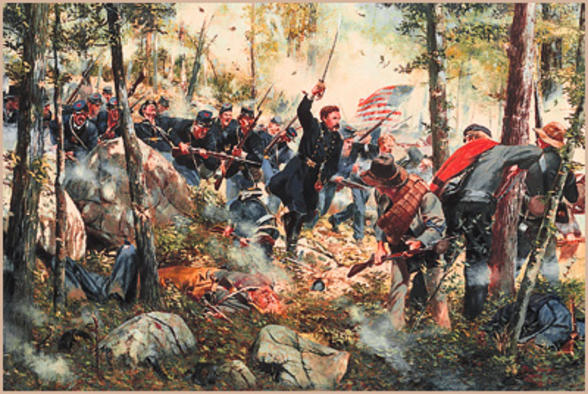 A painting of the 20th Regiment, Maine Volunteers at Charge Bayonets