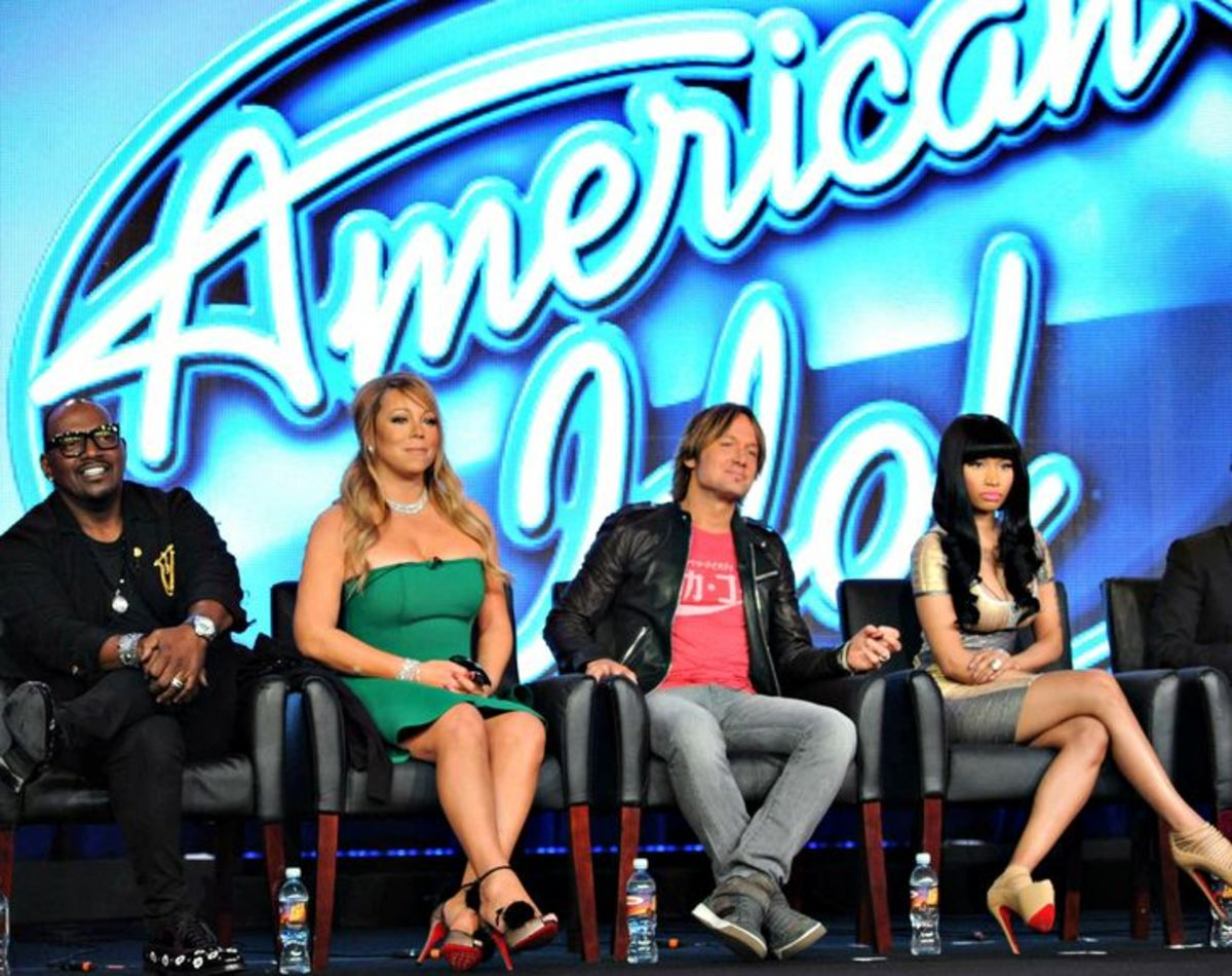 Nicki with the other 2013 American Idol panellists Randy Jackson, Mariah Carey and Keith Urban