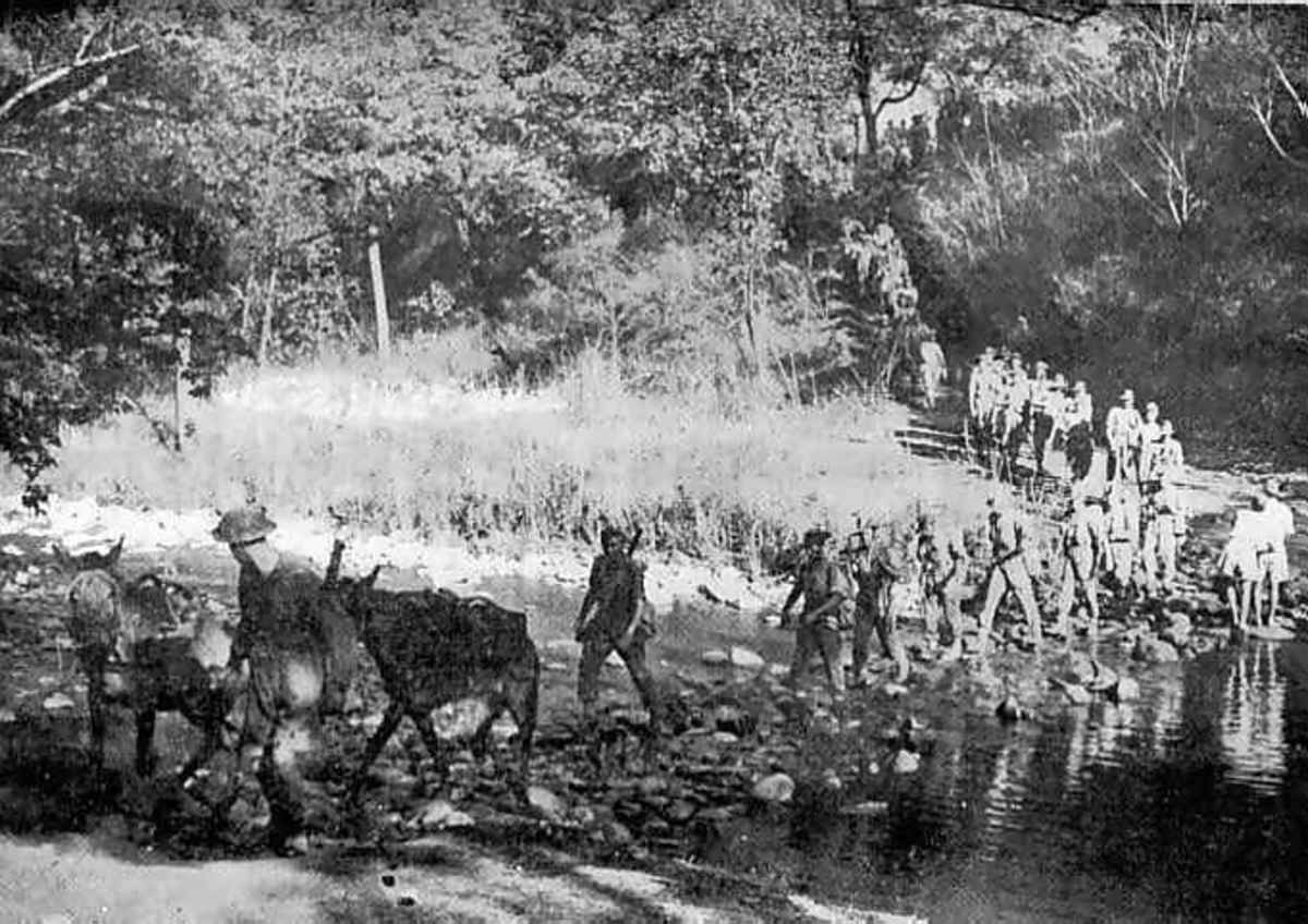 Column of Chindits on the move.