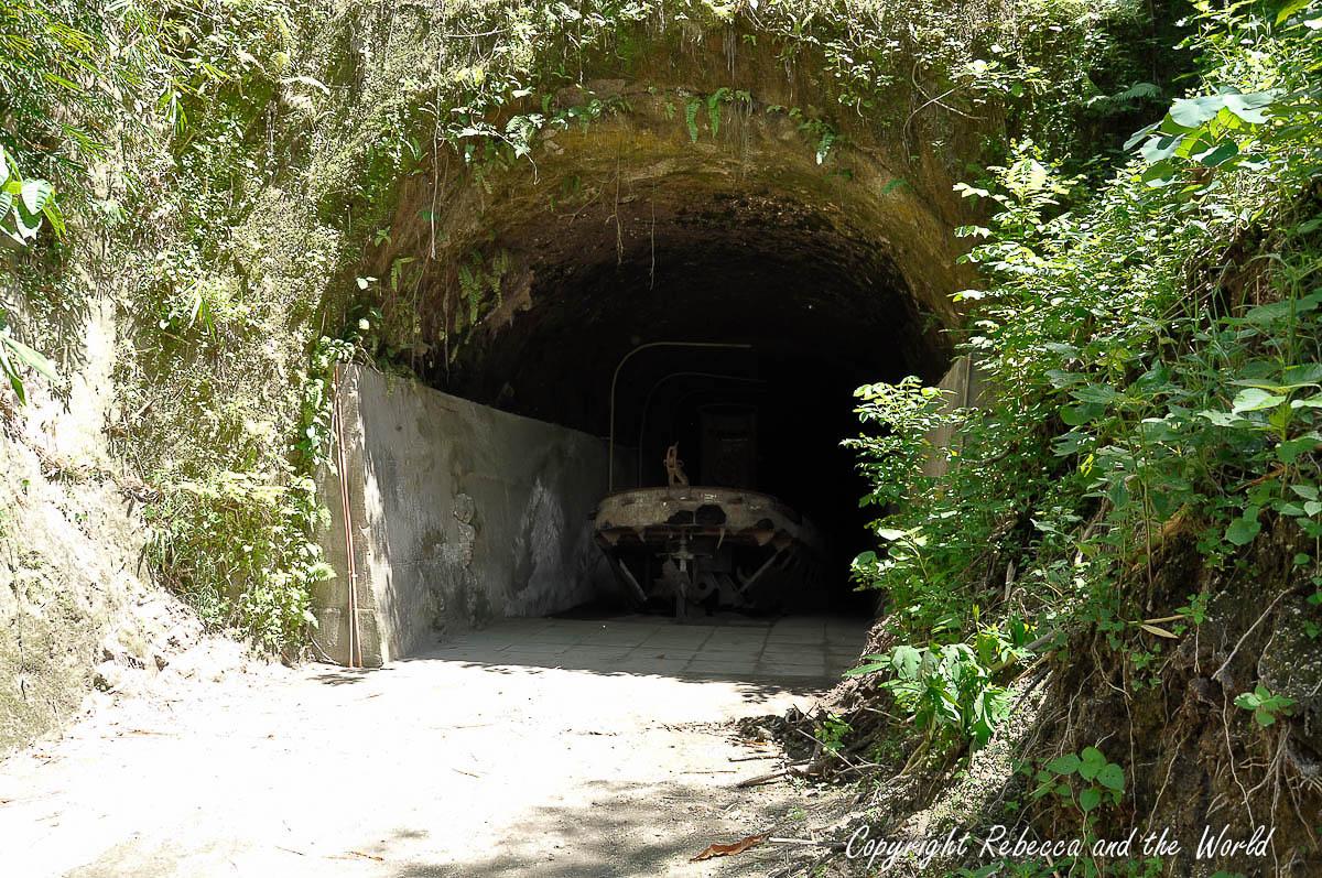 Rusting Japanese landing craft in Rabaul tunnels