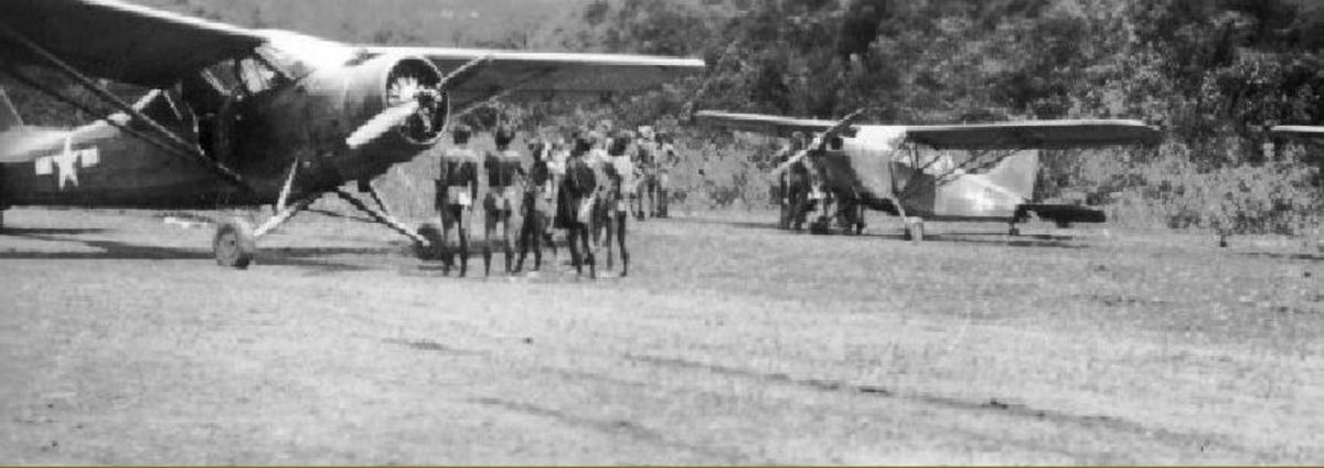Small single engine L5 Sentinel aircraft used to evacuate sick and wounded.