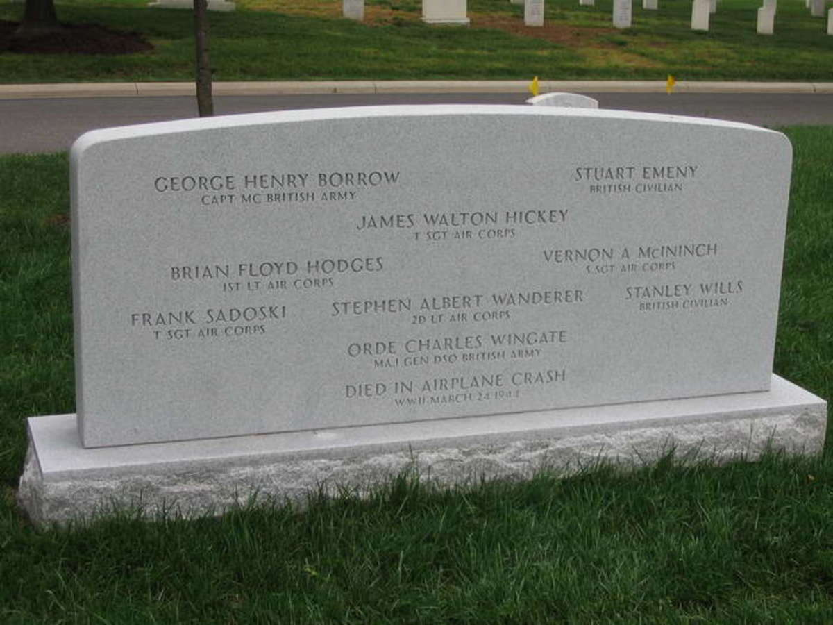 Gravestone of Wingate and others killed in the aircrash