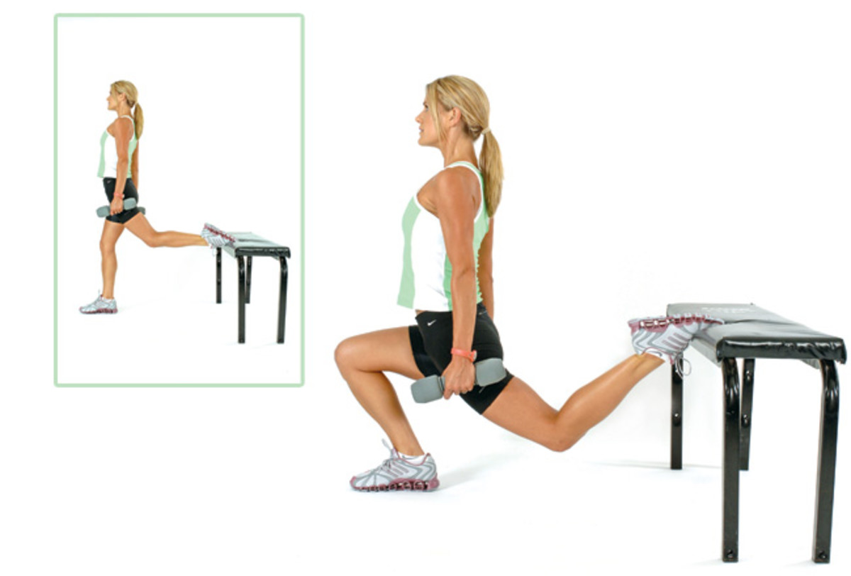 Poster with Pretty Blond with a Long Ponytail Demonstrating the Bulgarian or One Leg Squat with Weights