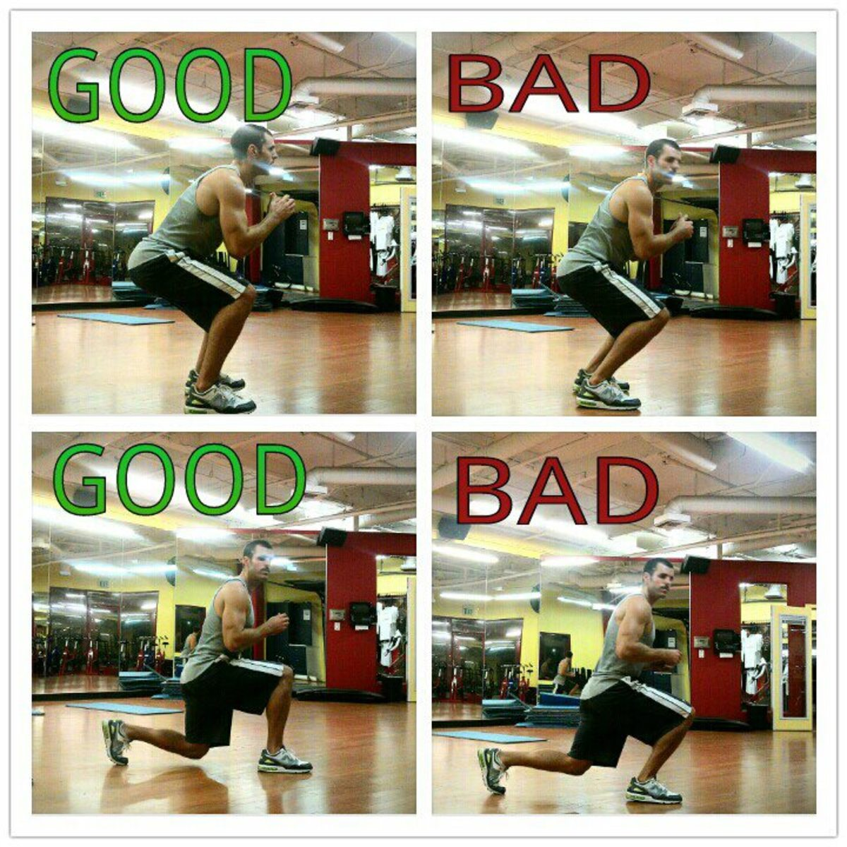 Good & Bad Squat Form Demonstration Poster by Brad Wark - ck out where the knee is in relation to the toes