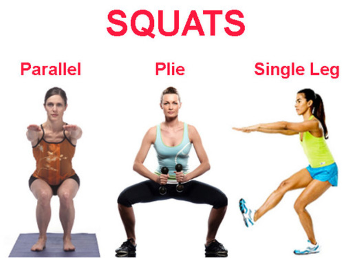 Three Types of Squats Demonstrated Parallel Pile or Wide and Single Leg Squat