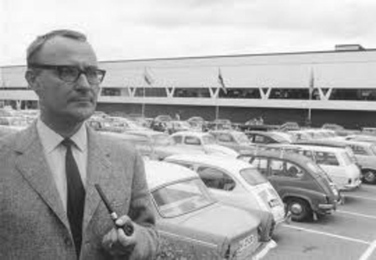Ingvar Kamprad, Founder, IKEA in front of the IKEA establishment in the initial years