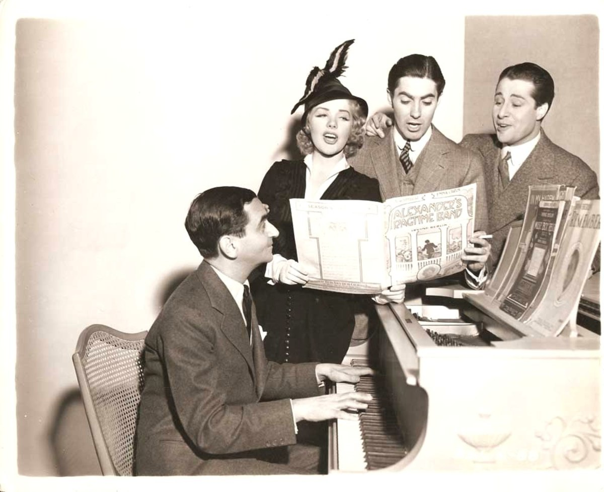 Irving Berlin with the cast of his film Alexander's Ragtime Band