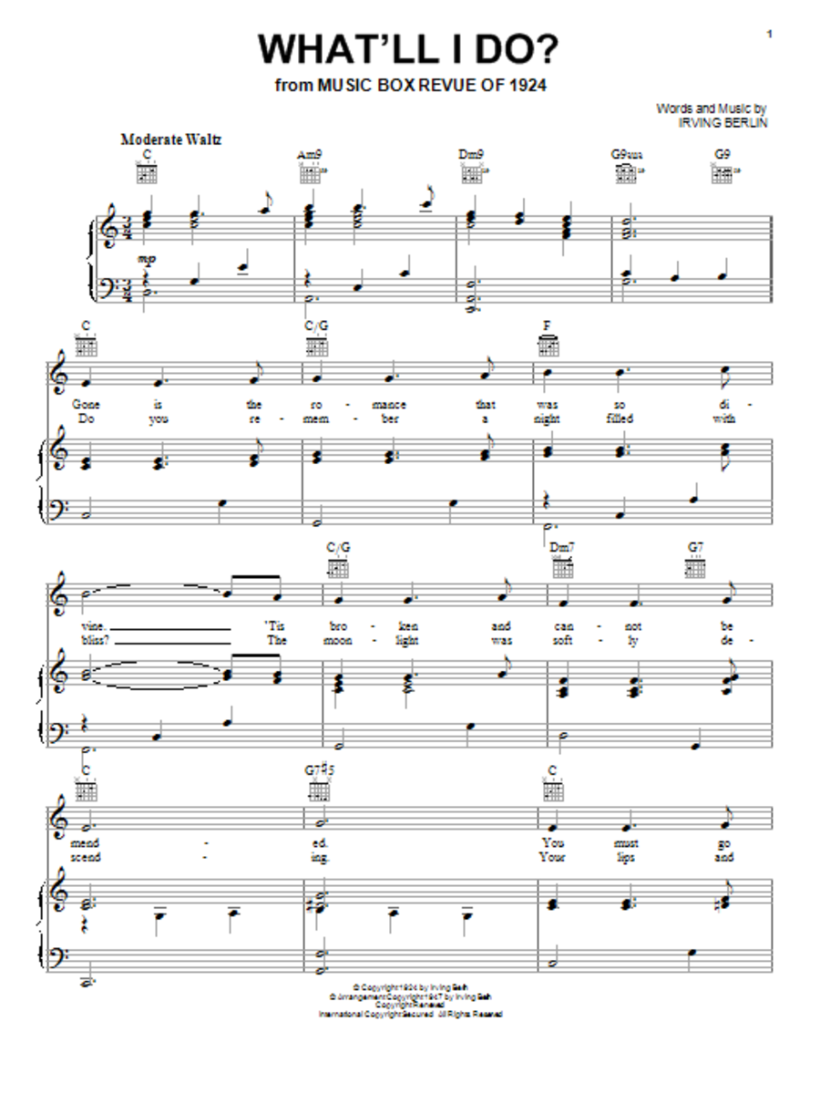 Music Sheet for What'll I do.