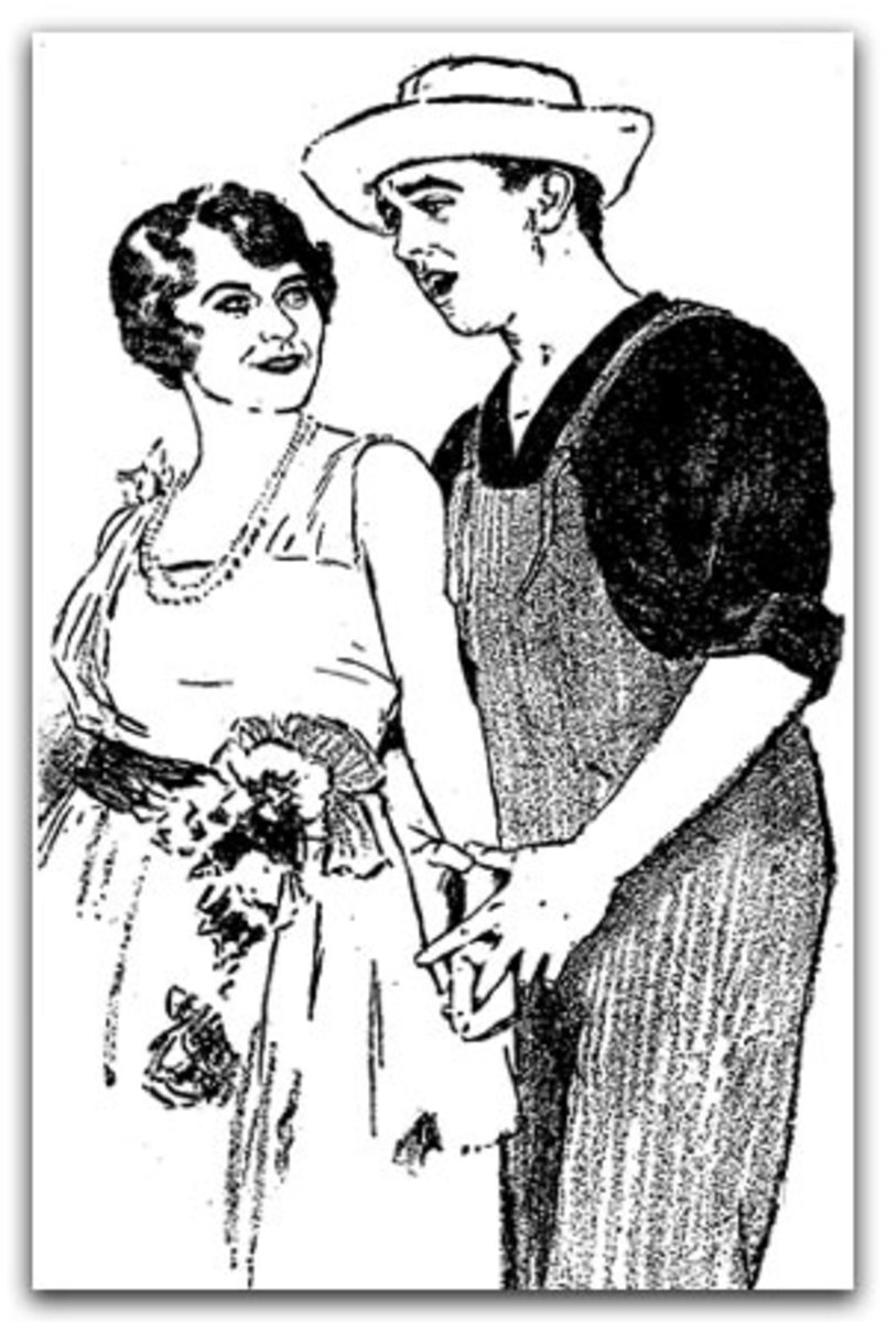 An illustration of Grace Moore and John Steel from a review of the Music Box performance in 1923