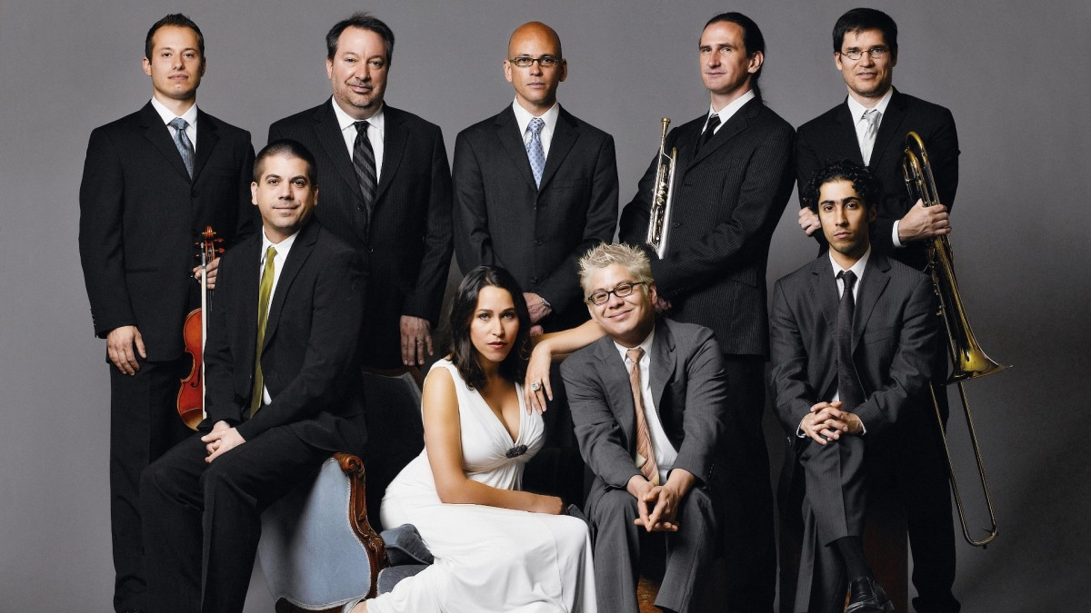 Pink Martini - Singer China Forbes and the Group leader Thomas Lauderdale are at the front