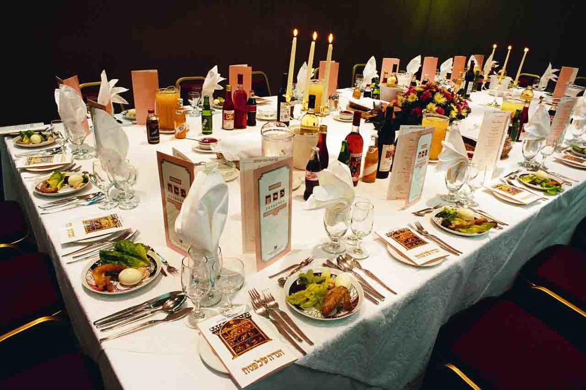 Seder Table with Copies of the Haggadah