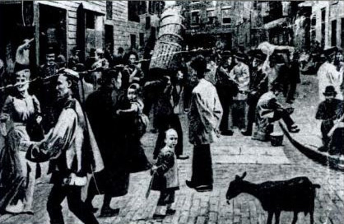 Doyers Street, home to New York's Chinatown, in 1898.