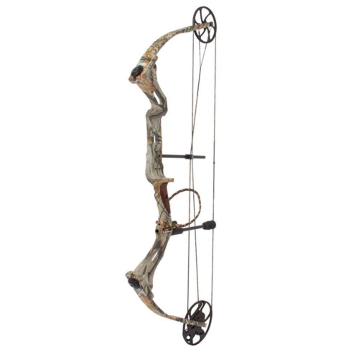 "Camo Pattern Next Vista Cam Eagle High Performance Cam 26"" - 31"" (mods included) Draw Lengths 26"" - 31"" (mods included) Draw Weights 50-60 lbs, 60-70 lbs Let Off 80% Axle to Axle Width 32"" Mass Weight 3.65 lbs Brace Height 7.75"" String Premium Stone"