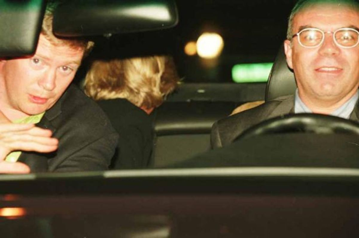 Traffic camera photo of Trevor Rees-Jones, Henri Paul and Princess Diana just before the crash. Notice how bright the light is. It was presumed that it came from paparazzi cameras. Conspiracy theorists now say it was part of the plot to murder Diana.