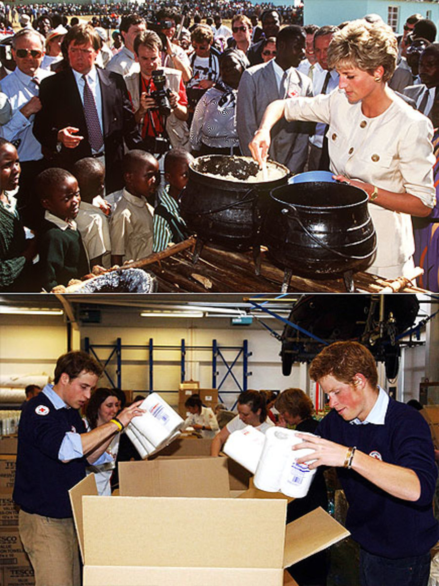 Top: Diana  in Zimbabwe in 1993 with a Red Cross project for refugees. Bottom: Harry & William at Red Cross in Bristol, England packing boxes to send to victims of Asian tsunami of 2004