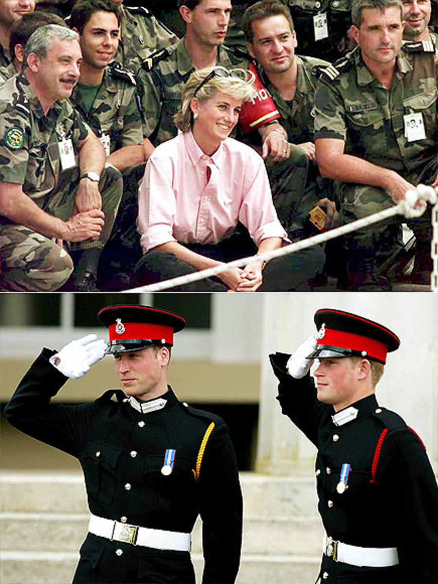 TOP: Diana posing w/ French soldiers serving  NATO-led peace force at the Sarajevo airport BOTTOM: William & Harry at Sandhurst Royal Military Academy