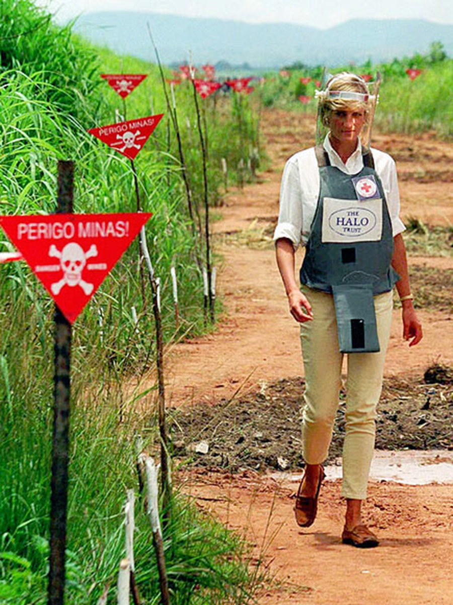 Jan. 1997 at Huambo, Angloa touring land mine fields, 8 months before her death