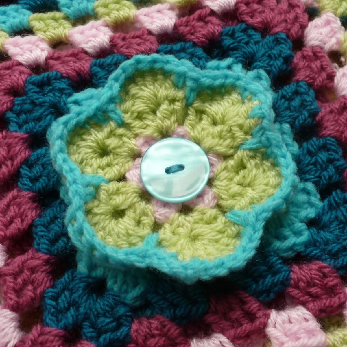 Large crochet flower embellishment design