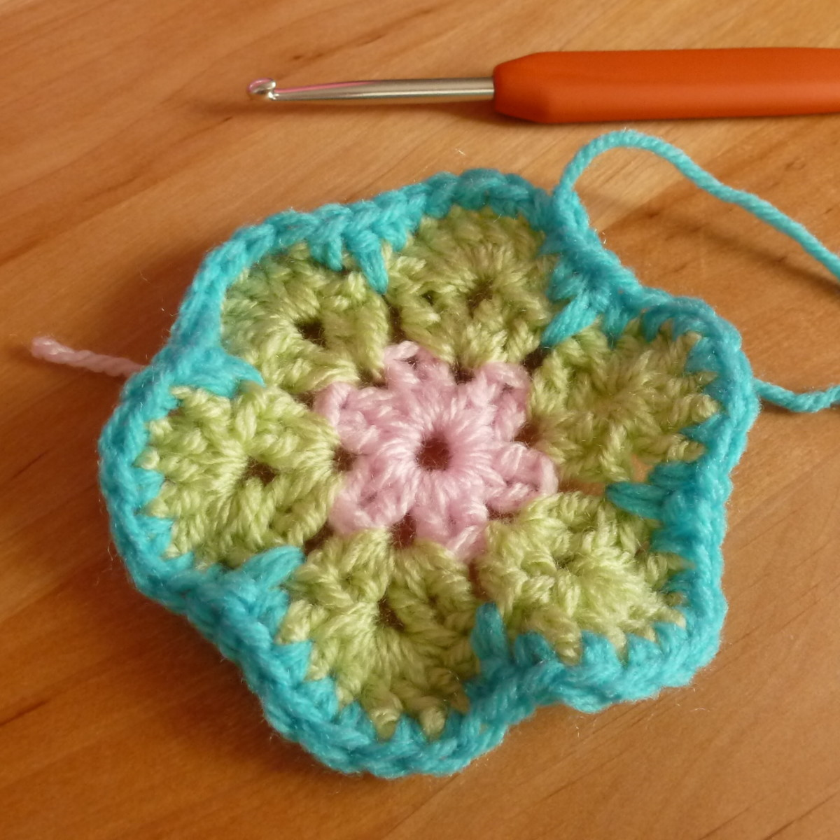 The completed large flower made using crochet.