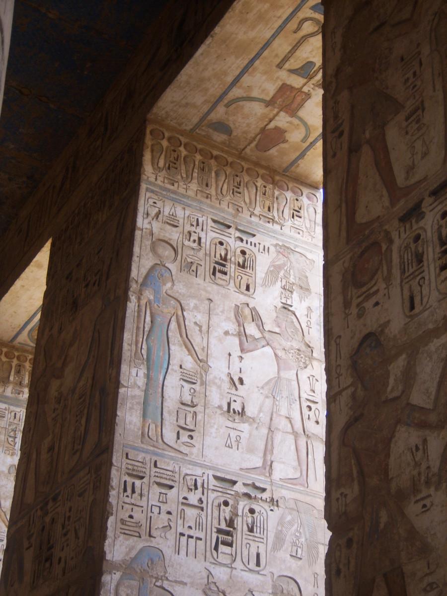 Pharaoh Ramesses III depicted at Medinet Habu